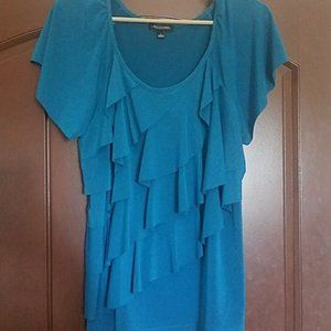 Turquoise Notations ruffled blouse